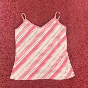 Tops - 5/25 Pink and white striped tank with built in bra